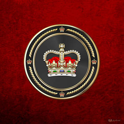 Digital Art - St Edward's Crown - British Royal Crown Over Red Velvet by Serge Averbukh