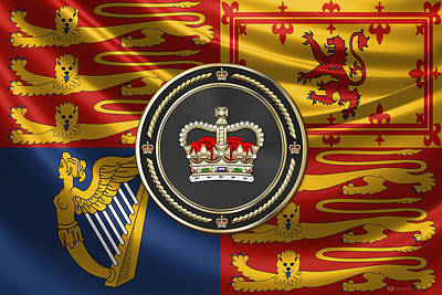 Digital Art - St Edward's Crown - British Royal Crown Over Royal Standard  by Serge Averbukh