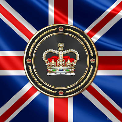 Digital Art - St Edward's Crown - British Royal Crown Over U K Flag  by Serge Averbukh