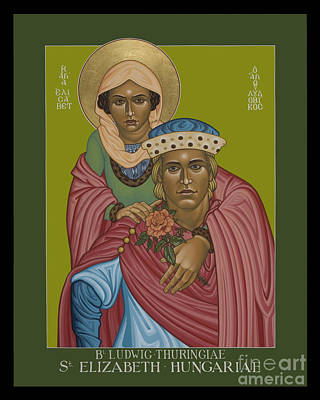 Painting - St. Elizabeth Of Hungary And Bl. Ludwig Of Thuringia - Lwezh by Lewis Williams OFS