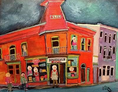 Painting - St, Emilie And Bourget Depanneur Rimal St. Henri by Michael Litvack