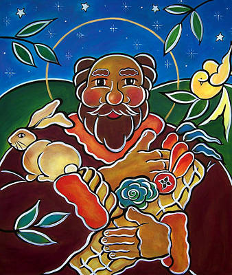 Painting - St. Fiacre - Patron Of Gardeners by Jan Oliver-Schultz