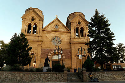 St Frances Basilica Santa Fe New Mexico With A Lone Singer  Art Print by Jeff Swan
