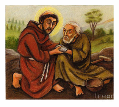 Painting - St. Francis And Lepers - Jlfrl by Julie Lonneman