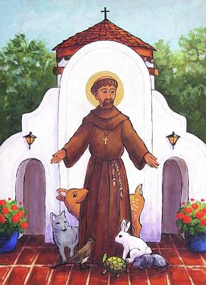 Wall Art - Painting - St. Francis At Holy Cross  by Candy Mayer