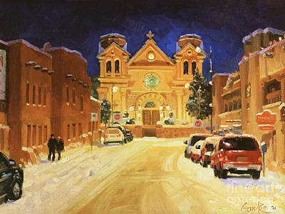 Winter Night Painting - St. Francis Cathedral Basilica  by Gary Kim