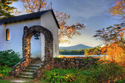 Photograph - St Francis Chapel Mountain Scene - Marlborough Nh by Joann Vitali
