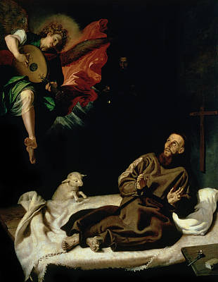 Angel Art Painting - St Francis Comforted By An Angel Musician by Francisco Ribalta