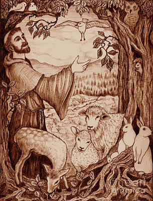 Mystical Landscape Drawing - St. Francis by Debra A Hitchcock