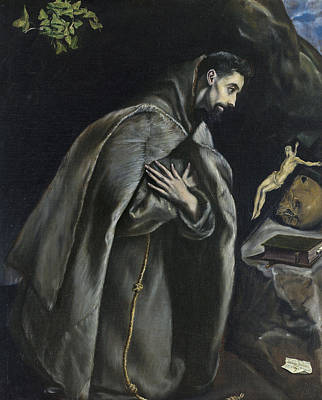 Crucifix Art Painting - St Francis In Prayer Before The Crucifix by El Greco