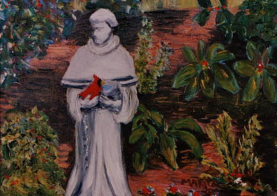 St Francis Prayer Painting - St Francis In The Garden by Marita McVeigh