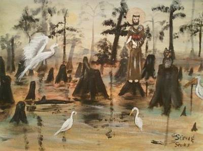 Folk Art Painting - St. Francis In The Swamp by Seaux-N-Seau Soileau