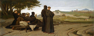 Final Resting Place Painting - St Francis Of Assisi While Being Carried To His Final Resting Place At Saint-marie-des-anges Blesses by Francois-Leon Benouville