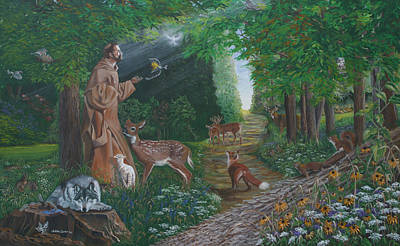 Chipmunk Painting - St. Francis Of The Wood by JoAnne Castelli-Castor