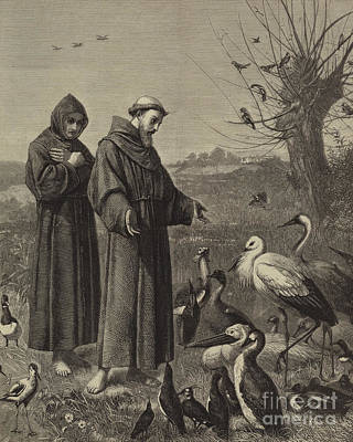 Christianity Drawing - St Francis Preaches To The Birds  by Henry Stacey Marks