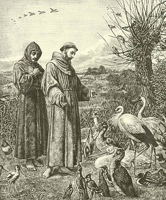 Christianity Drawing - St Francis Preaching To The Birds by Henry Stacey Marks