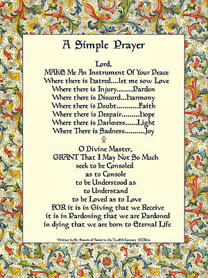 St. Francis Simple Prayer For The Pope's Visit Art Print