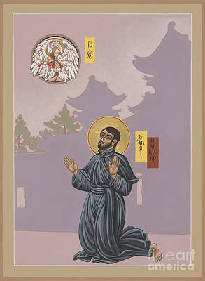 Painting - St Francis Xavier Adoring Jesus The Mother Pelican 164 by William Hart McNichols