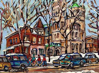 Street Hockey Painting - St Gabriel's Rectory  St Charles Church Rue Centre Pointe St Charles  Original Oil Painting Cspandau by Carole Spandau