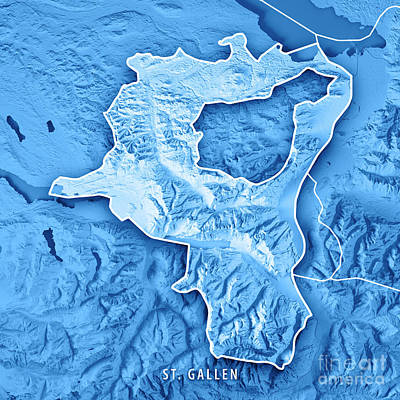 St. Gallen Canton Switzerland 3d Render Topographic Map Blue Bor Art Print by Frank Ramspott