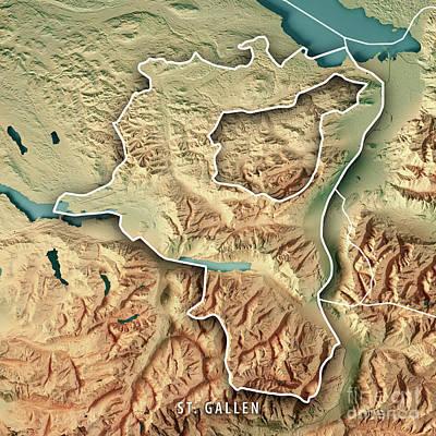 St. Gallen Canton Switzerland 3d Render Topographic Map Border Art Print by Frank Ramspott