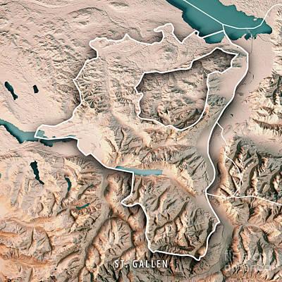 St. Gallen Canton Switzerland 3d Render Topographic Map Neutral  Art Print by Frank Ramspott