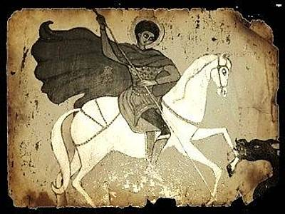 Greeting Card - St. George - Monochrome by Rae Chichilnitsky