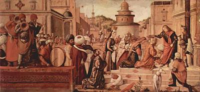 Baptising Painting - St George Baptising The Gentile 1507 by Carpaccio Vittore