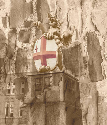 Photograph - St George Cross On Dragon Boundary Mark London Fine Art by Jacek Wojnarowski