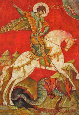 Contemporary Byzantine Art Painting - St George II by Tanya Ilyakhova