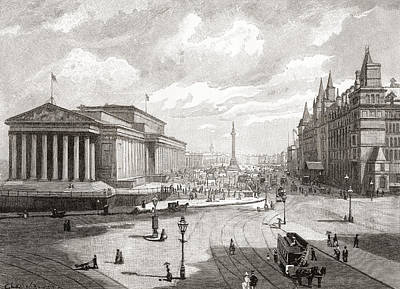 Lime Drawing - St. George S Hall And Lime Street by Vintage Design Pics