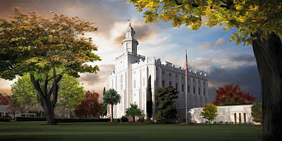 Lds Painting - St. George Temple by Brent Borup