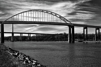 Photograph - St. Georges Bridge In Black And White by Bill Swartwout Photography
