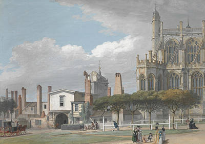 Painting - St. George's Chapel, Windsor, And The Entrance To The Singing Men's Cloister by Paul Sandby