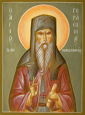 Byzantine Icon Painting - St Gerasimos Of Kefalonia by Julia Bridget Hayes