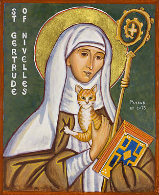 Egg Tempera Painting - St. Gertrude Of Nivelles Icon by Jennifer Richard-Morrow