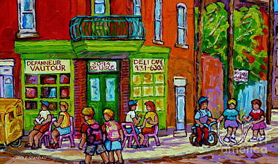 Painting - St Henri Coffee Shop Painting Corner Store Montreal Depanneur Summer Day Canadian Art Carole Spandau by Carole Spandau