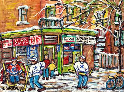Painting - St Henri Montreal Winterscene Paintings For Sale Kids Hockey Game Canadian Art C Spandau Depanneurs  by Carole Spandau