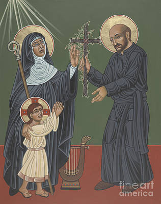 Painting - St Hildegard And St Ignatius- Viriditas  by William Hart McNichols