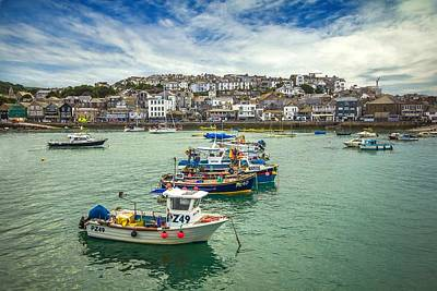 Photograph - St. Ives Harbour With Dramatic Skyline by Joy of Life Art Gallery
