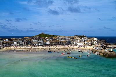 Photograph - St. Ives View To Island From Harbour Beach by Joy of Life Art Gallery