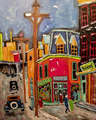 Litvack.old Cars Painting - Vintage St. Jacques And Atwater 1938 by Michael Litvack
