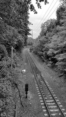 Photograph - St James Train Tracks B W by Rob Hans