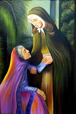 St Jeanne Jugan Of France With Old Lady Art Print by Xafira Mendonsa