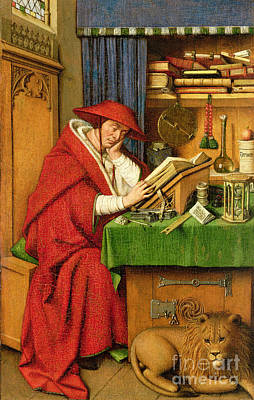 Library Painting - St. Jerome In His Study  by Jan van Eyck