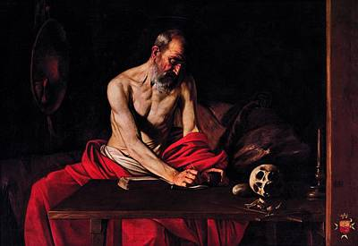 Caravaggio Painting - St Jerome,  Michelangelo Merisi Da Caravaggio by Celestial Images