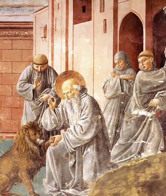 Painting - St Jerome Pulling A Thorn From A Lion Paw by Gozzoli Benozzo