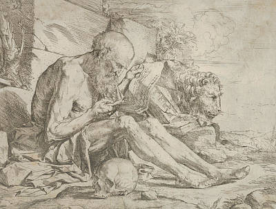 Relief - St. Jerome Seated On The Ground And Reading An Inscribed Scroll, A Skull Next To His Right Leg by Jusepe de Ribera
