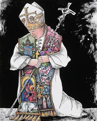 Painting - St. John Paul II Kneeling - Mmjpk by Br Mickey McGrath OSFS