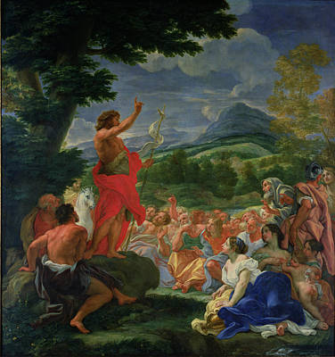 Old Man Painting - St John The Baptist Preaching by II Baciccio - Giovanni B Gaulli